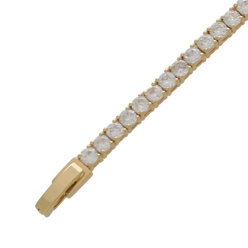 Pulseira cravejada com zircônia cristal e uma pedra de zircônia esmeralda