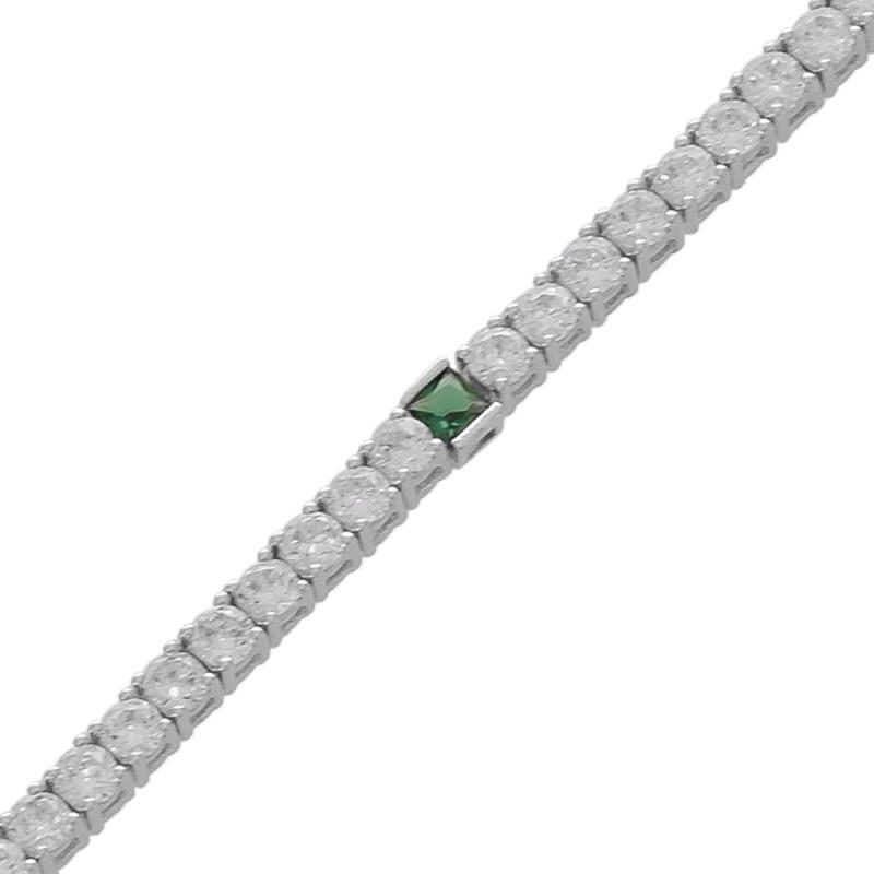 Pulseira cravejada com zircônia cristal e uma pedra de zircônia esmeralda.