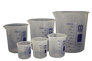Becker em polipropileno (PP) Autoclavável até. 600 ml Subd. 50/50 ml.Ngn