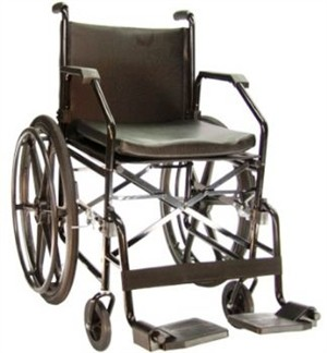 Cadeira De Rodas Em Aço Ortopedia Jaguaribe - 1017 Plus - Preta