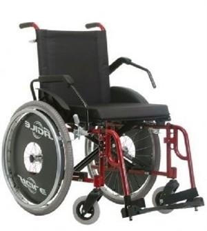 Cadeira de Rodas em Alumínio - Ortopedia Jaguaribe - Ágile Fat - Vinho - 50cm