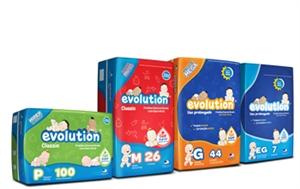 Fralda Infantil Evolution de 5 kg a 10 kg, fardo com 216 Unidades.Dy
