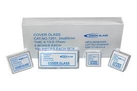 Lamínula para Microscópio 18 X 18, caixa com 1000 unidades.Vision Glass