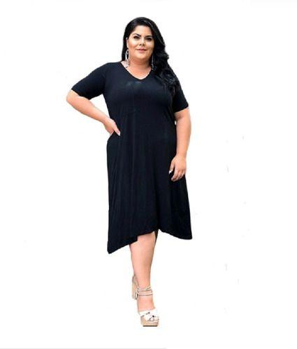 Vestido Feminino Manga Curta Bolso Lateral Plus Size Mazal