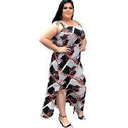 Vestido Feminino Longo Com Fenda Floral Plus Size Mazal