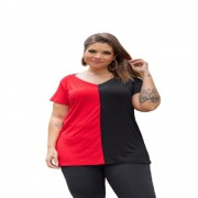Blusa Feminina Bicolor Manga Curta Plus Size Mazal