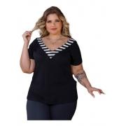Blusa Feminina Decote V Especial G7 Canelado Plus Size Mazal
