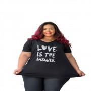 Blusa Feminina Gola V Especial Estampa Love Plus Size Mazal