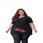 Blusa Feminina Gola V Flores Tamanho Especial Plus Size Mazal