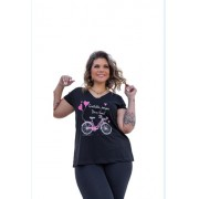 Blusa Feminina Manga Curta Bicicleta Plus Size Mazal