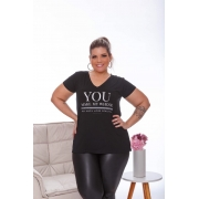 Blusa Feminina Manga Curta You Make My Whole Plus Size Mazal