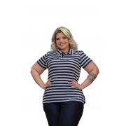 Blusa Feminina Polo Malha Canelada Listrado Plus Size Mazal