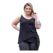 Blusa Feminina Regata Com Amarração Plus Size Mazal