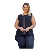 Blusa Feminina Regata Com Paete Plus Size Mazal