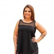 Blusa Feminina Regata Com Tule Plus Size Mazal