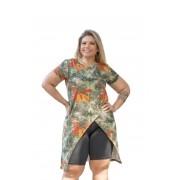 Blusa Feminina Transpassada Estampado Plus Size Mazal