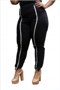 Calça Feminina De Bengaline Skinny Plus Size Preto Mazal