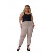 Calça Feminina De Linho Jogger Com Bolsos Plus Size Mazal