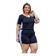 Conjunto Feminino Shorts E Blusa Com Faixa Plus Size Mazal