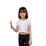 Cropped Infantil Juvenil Menina Manga Curta Básico Mazal
