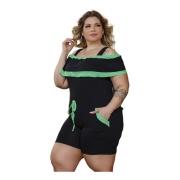 Macacão Feminino Alcinha Babado Com Bolsos Plus Size Mazal