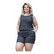 Macacão Feminino Curto Regata Estampado Plus Size Mazal