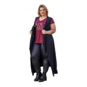 Maxi Colete Feminino Longo Liso A Fio Plus Size Mazal