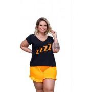 Pijama Feminino Blusa E Short Fluorescente Plus Size Mazal