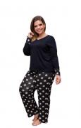 Pijama Feminino Blusa Lisa E Calça Bolinha Plus Size Mazal