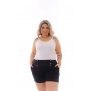 Short Feminino Em Bengaline Bolso E Botões Plus Size Mazal