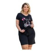 Shorts Feminino Com Passante E Cinto Plus Size Mazal