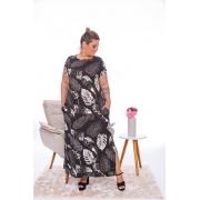 Vestido Feminino Longo Com Bolso Estampado Plus Size Mazal