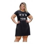 Vestido Feminino Raglan Estampa New York Plus Size Mazal