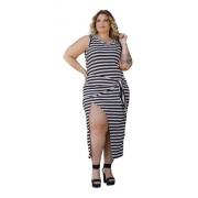 Vestido Feminino Transpassado Amarração Listrado Plus Size