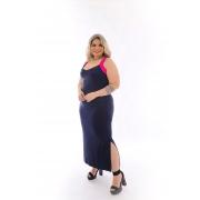 Vestido Longo Alça Colorida Com Fenda Plus Size Mazal