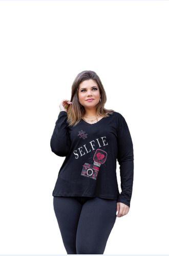 Blusa Feminina Gola V Manga Longa Selfie Plus Size Mazal