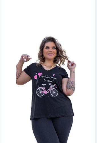 Blusa Feminina Gola V Manga Curta Bicicleta Plus Size Mazal