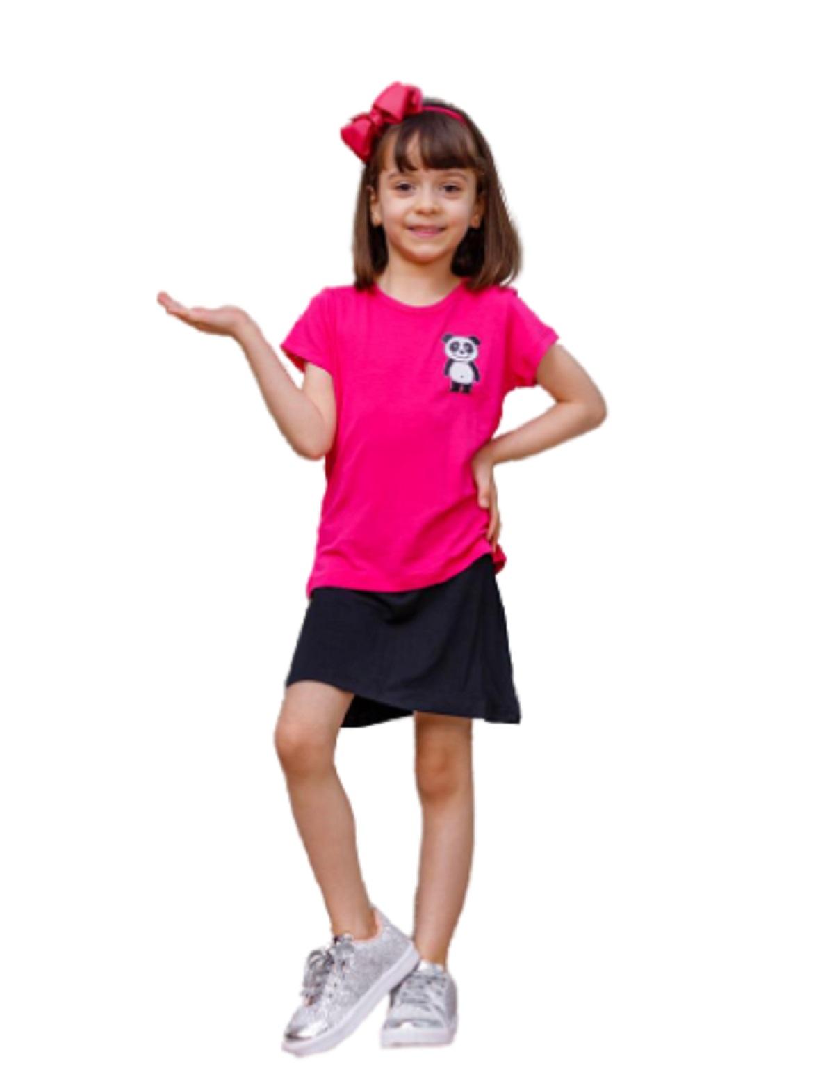 Camiseta Baby Look Infantil Manga Curta Menina Panda Mazal