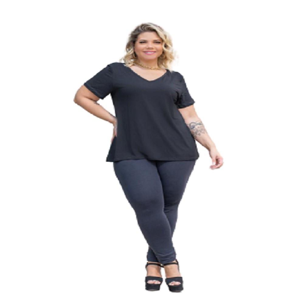 Blusa Feminina 2 Decotes Gola V E Redonda Plus Size Mazal