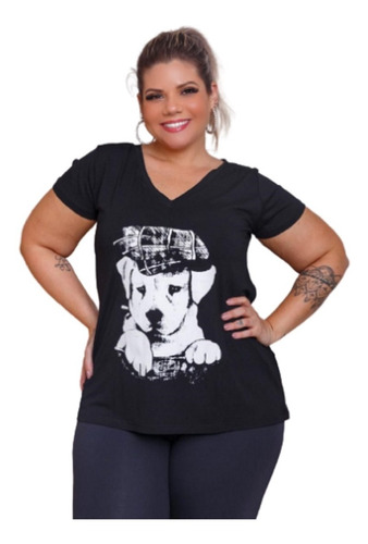 Blusa Feminina Especial G7 Estampa Cachorro Plus Size