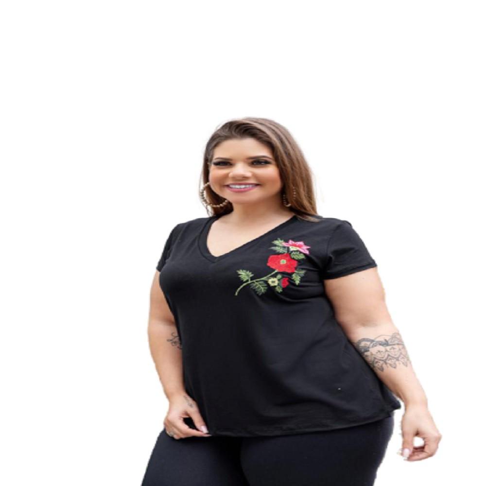 Blusa Feminina Gola V Lisa Com Bordado Flor Plus Size Mazal