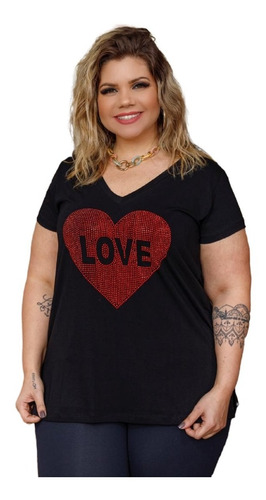 Blusa Feminina Gola V Love Em Pedrinha Plus Size Mazal