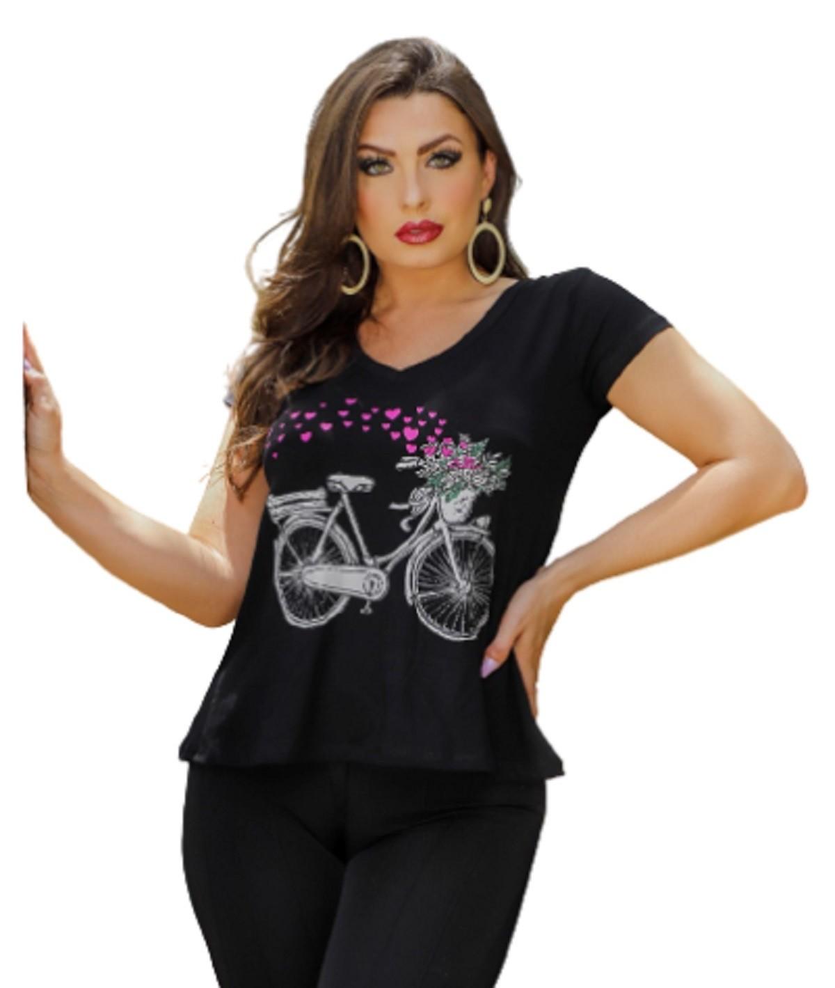 Blusa Feminina Manga Curta Bicicleta P ao GG  Mazal