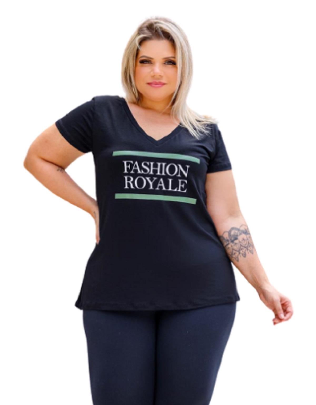 Blusa Feminina Manga Curta Fashion Royale Plus Size Mazal