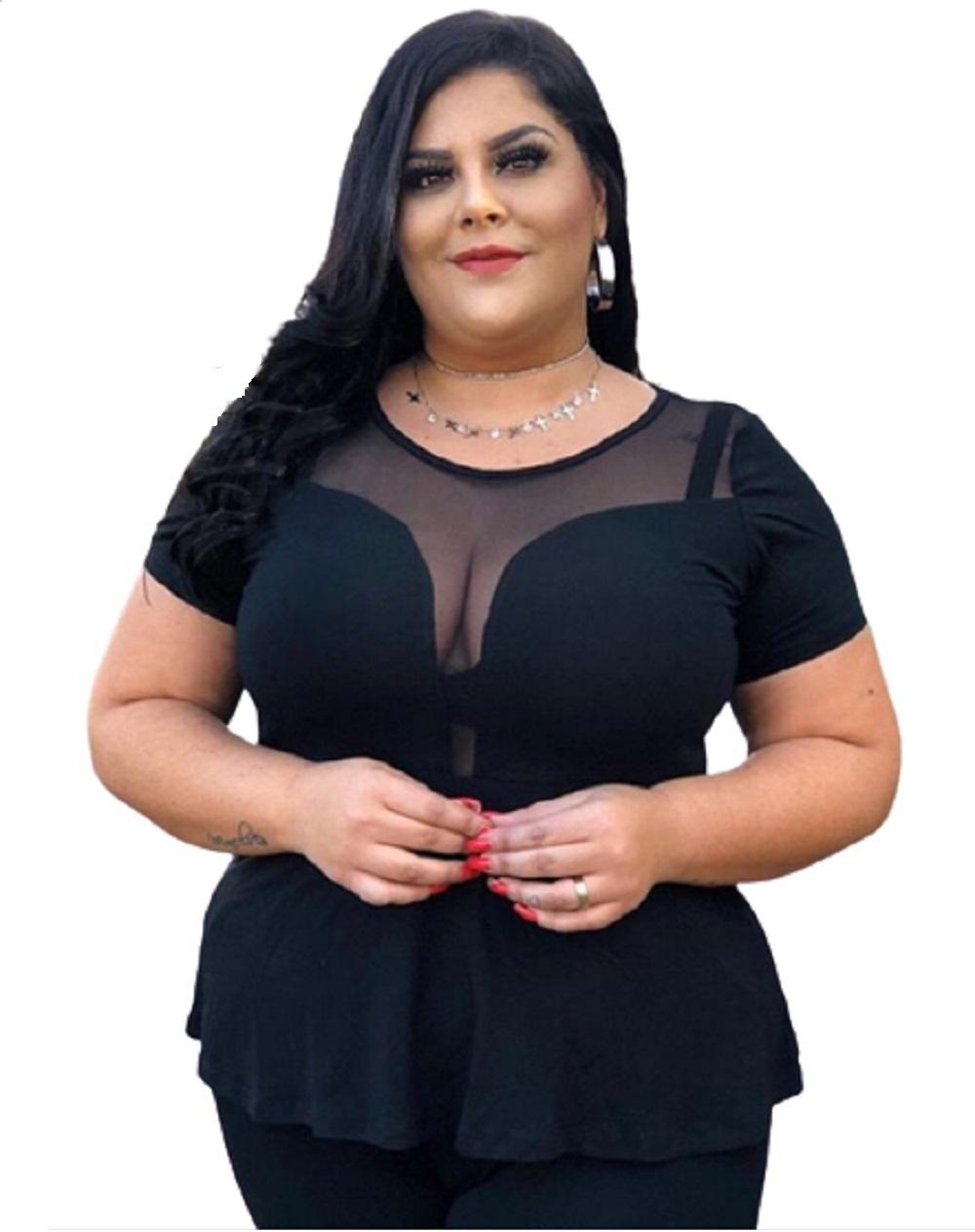 Blusa Feminina Peplum Decote Em Tule Plus Size Mazal