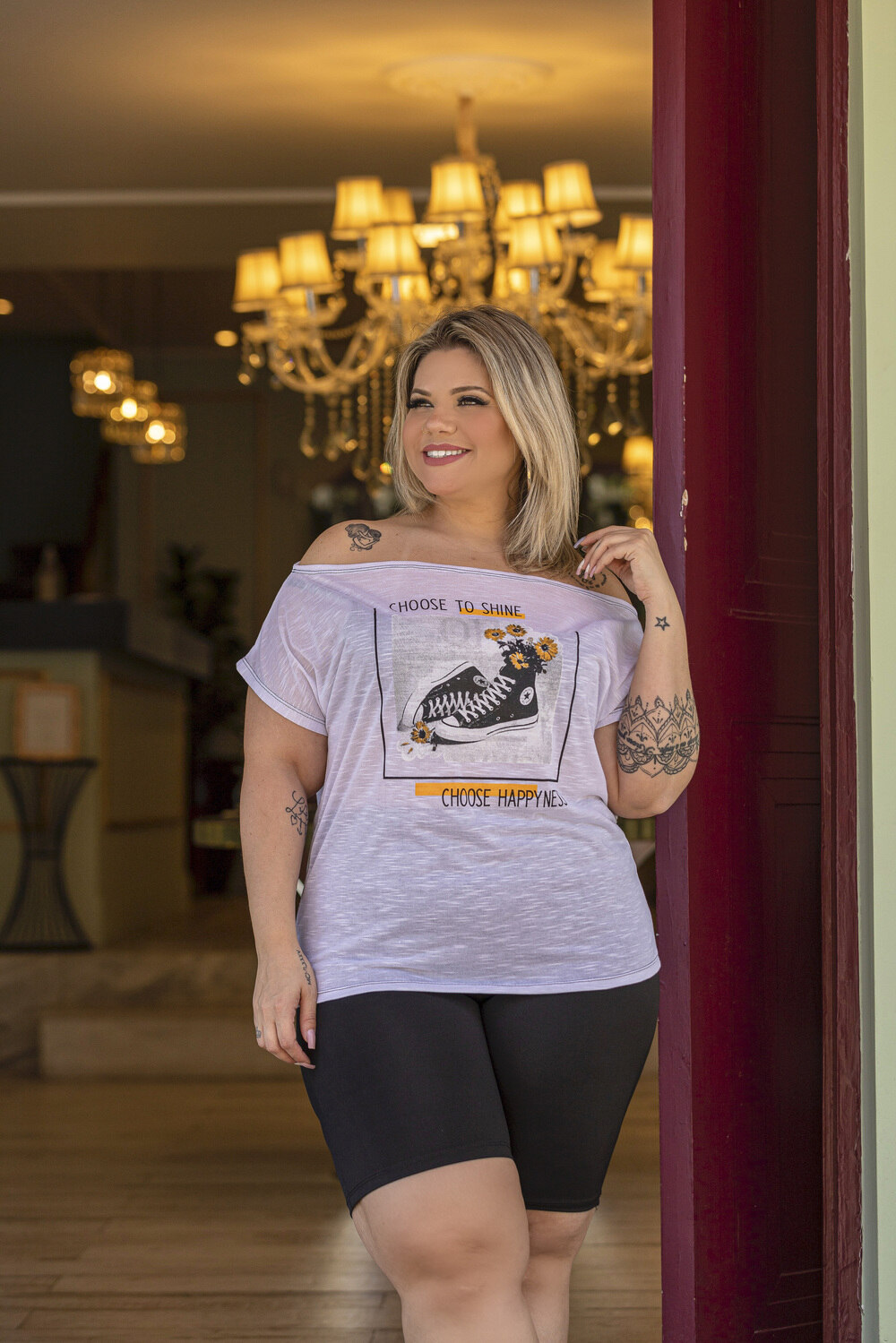 Blusa Feminina Quadrada Flame Com Estampa Plus Size Mazal