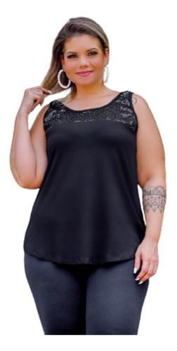 Blusa Regata Feminina Com Paetê Plus Size Mazal