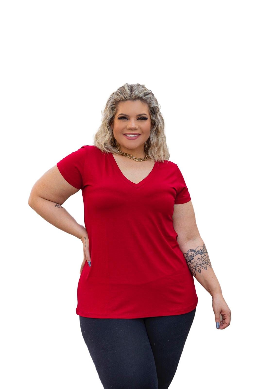 Blusinha Feminina Trapézio Plus Size Gola Em V Mazal