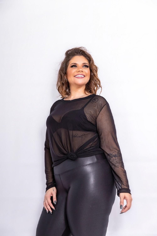 Calça Feminina Cirre Preto Plus Size Mazal