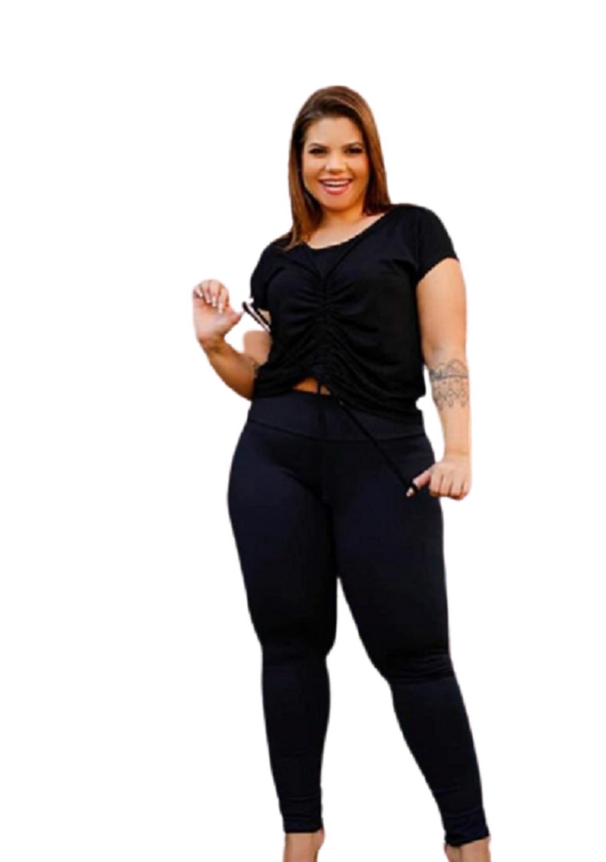 Calça Feminina Legging Poliamida Básica Plus Size Mazal